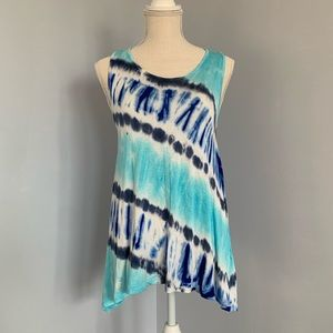 Aqua Blue Tie Dye Diagonal Stripe Tank Top NWT
